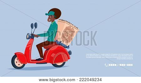 Food Delivery Service Icon African American Courier Boy Riding Motor Bike Delivering Grocery Flat Vector Illustration