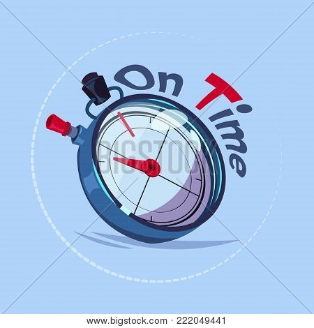 On Time Delivery Service Emblem With Chronometer Over Blue Background Flat Vector Illustration
