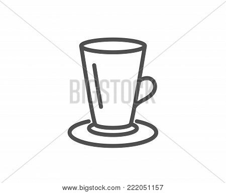 Cup of Tea line icon. Fresh beverage sign. Latte or Coffee symbol. Quality design element. Editable stroke. Vector