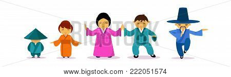 Asian Family Wearing Traditional Clothes East Tradition And Culture Concept Flat Vector Illustration