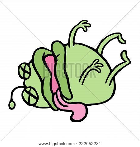 Cute green microbe was poisoned and died. Bad day. Cartoon character. Vector illustration.