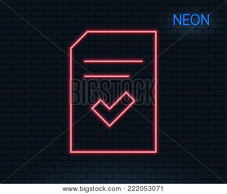 Neon light. Checked Document line icon. Information File with Check sign. Correct Paper page concept symbol. Glowing graphic design. Brick wall. Vector