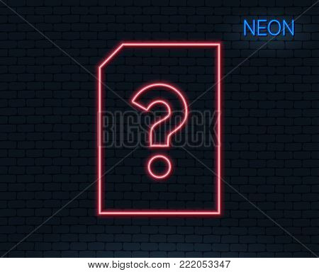 Neon light. Unknown Document line icon. File with Question mark sign. Untitled Paper page concept symbol. Glowing graphic design. Brick wall. Vector