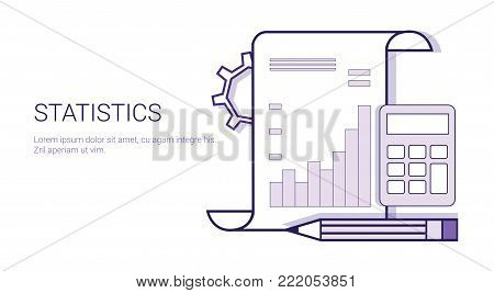 Statistics Analysis Results Document Concept Template Web Banner With Copy Space Vector Illustration