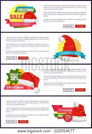 Super choice Christmas sale web banners with push buttons read more and buy now, Santa Claus caps on advertisement emblems, place for text vector set