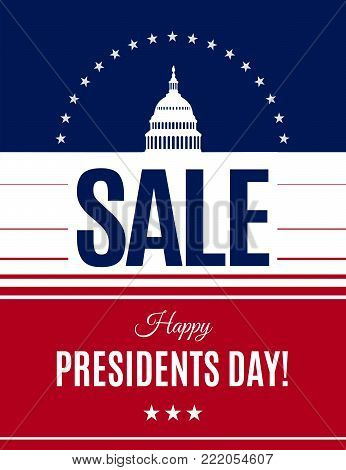 Presidents Day sale banner with Washington DC White house and abstract american flag background. Washington's Birthday discount banner. Vector illustration