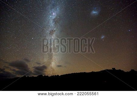 Starry sky of the Southern Hemisphere with the Milky Way and the Magellanic Clouds