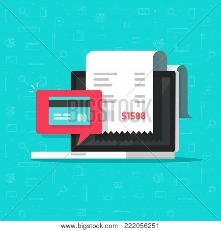 Online payment on computer vector illustration, flat cartoon big pay bill tax via credit card and laptop pc concept, financial accounting, electronic payment notification with digital receipt poster