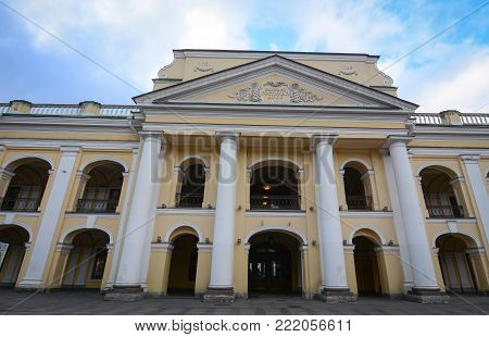 St. Petersburg, Russia - Oct 8, 2016. Facade of old building in Saint Petersburg, Russia. St Petersburg is inscribed on the UNESCO list as an area with 36 historical architectures.