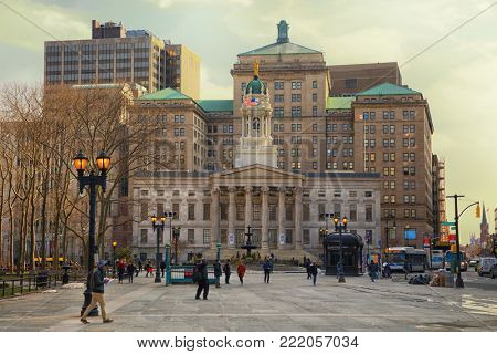 NEW YORK, USA - MARCH 24, 2017: Brooklyn Borough Hall designed by architects Calvin Pollard and Gamaliel King in the Greek Revival style, and constructed of Tuckahoe marble in Brooklyn, New York