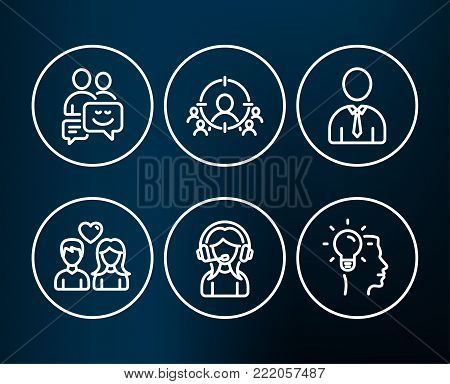 Set of Human, Support and Communication icons. Business targeting, Couple love and Idea signs. Person profile, Call center, Business messages. People and target aim, People in love, Professional job