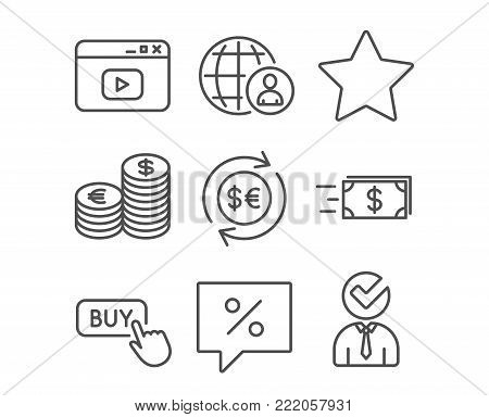 Set of Buy button, Currency and Discount message icons. Money currency, Money transfer and Video content signs. Star, International recruitment and Vacancy symbols. Online shopping. Euro and usd