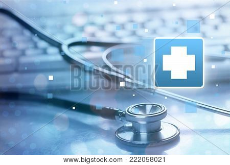 Laptop stethoscope top computer background nobody health