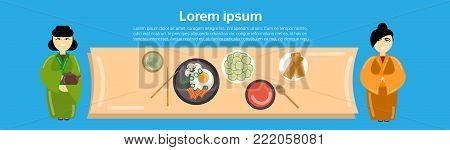 Geisha Women At Asian Food Set Korean Thai Dishes Top Angle View Template Background Horizontal Banner Flat Vector Illustration