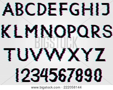 All symbols, letter, glitch font with distortion and vhs effect. letters and numbers isolated.Trendy distorted vector typographic