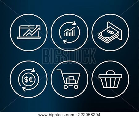 Set of Sales diagram, Update data and Atm money icons. Money currency, Internet shopping and Shop cart signs. Sale growth chart, Sales statistics, Dollar currency. Vector