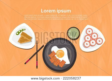 Asian Food Set Korean Thai Dishes Top Angle View Template Background Flat Vector Illustration