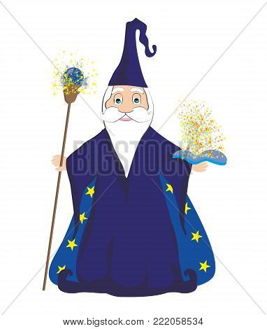 Funny wizard and magic book , vector illustration