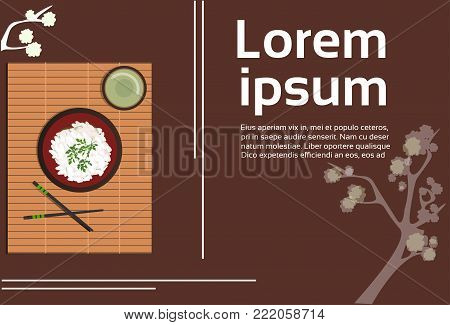 Korean Food Plate With Rice And Spicy Sauces Asian Thai Vegeterian Dish Top Angle View Natural Background Flat Vector Illustration