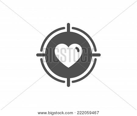 Heart in Target aim simple icon. Love dating symbol. Valentines day sign. Quality design elements. Classic style. Vector