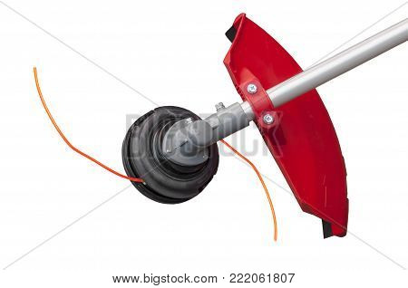 Lawnmower big head trimmer for grass like garden machine on white