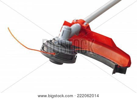 Lawnmower big head trimmer red for grass like garden machine on white