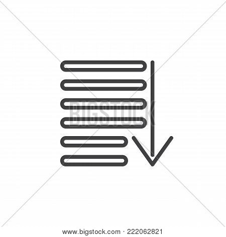 Sorting line icon, outline vector sign, linear style pictogram isolated on white. Order symbol, logo illustration. Editable stroke