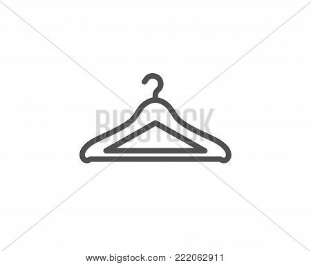 Cloakroom line icon. Hanger wardrobe sign. Clothes service symbol. Quality design element. Editable stroke. Vector