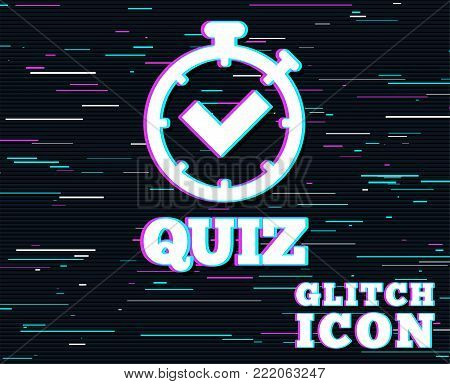 Glitch effect. Quiz timer sign icon. Questions and answers game symbol. Background with colored lines. Vector
