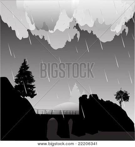 illustration with bridge above precipice at night rain