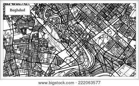 Baghdad Iraq City Map in Black and White Color. Outline Map.