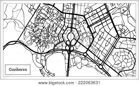 Canberra Australia City Map in Black and White Color. Outline Map.