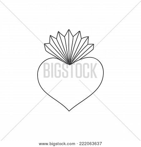 Sacred heart vector doodle illustration , hand drawn saint flaming heart with flame