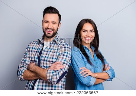 He Vs She Portrait Of Caucasian, Hispanic Couple In Shirts - Man With Bristle And Pretty, Charming W