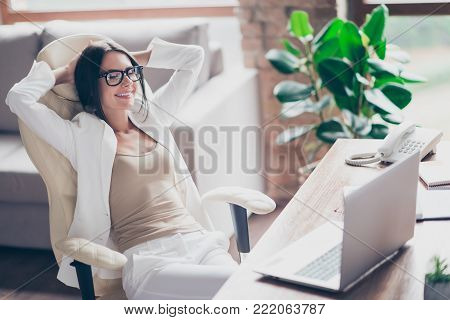 Nice, Independent, Cute Woman In White Suit, Formal Wear, Glasses Sitting On Chair At Her Desk In Of