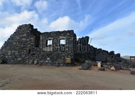 Close up of the ancient golf mine ruins