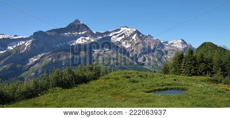 Mountain landscape in the Bernese Oberland. Oldenhorn and Scex Rouge, high mountains in the Bernese Oberland.