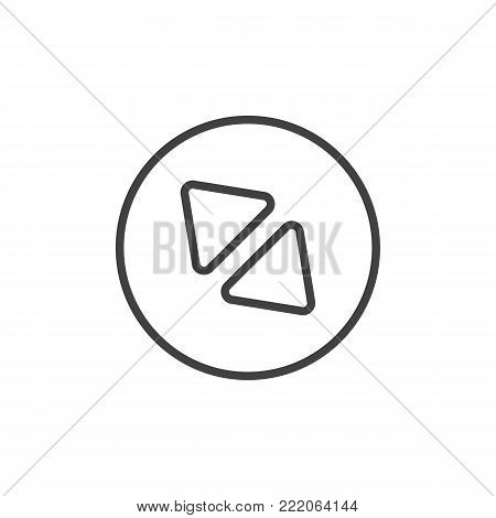 Diagonal enlarge button line icon, outline vector sign, linear style pictogram isolated on white. Symbol, logo illustration. Editable stroke