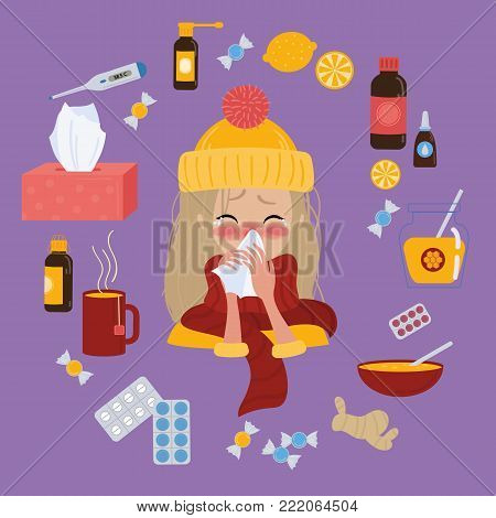Young blonde girl in yellow hat caught cold flu or virus. She has red nose, high temperature and holds napkin. Ways to treat illness. Pills, honey, tea. Vector isolated objects on background