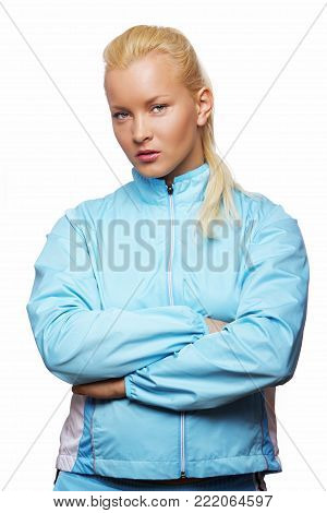 Image of sportwoman posing in studio isolated on white
