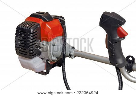 Motor trimmer of lawnmower for grass like garden machine on white background