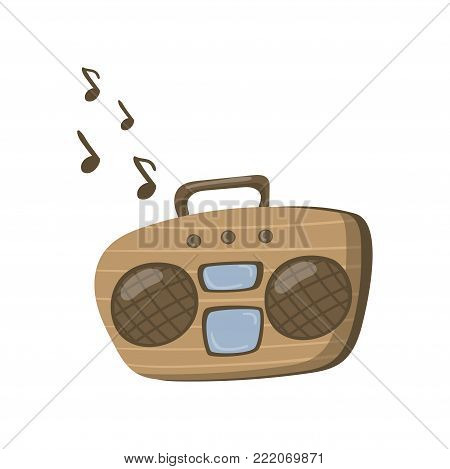 Boombox or radio cassette tape player cartoon vector Illustration on a white background