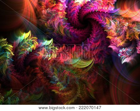 Helix Fuzzy Bright Background - Fractal Art