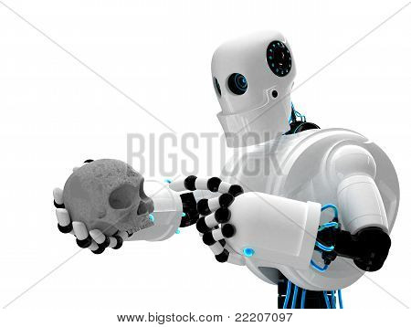 Robot Holding Human Scull