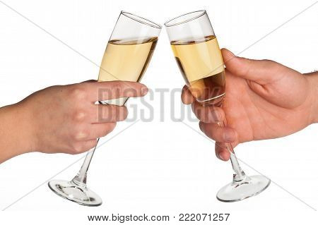 Hands champagne toast toasting leisure background isolated