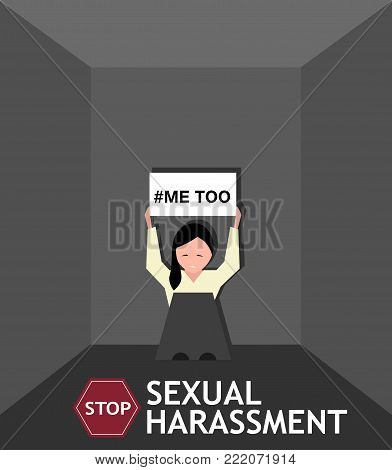 Sexual harassment poster with sad young girl. World social gender problem, womens right and sex discrimination vector illustration.