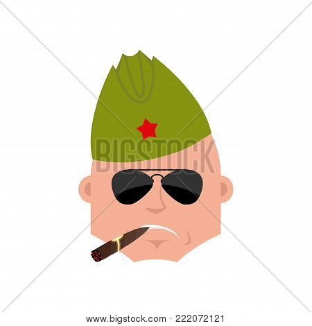 Soviet soldier Cool serious avatar of emotions. Retro Russian warrior smoking cigar emoji. strict Military in Russia. Illustration for 23 February. Defender of Fatherland Day. Army holiday for Russian Federation
