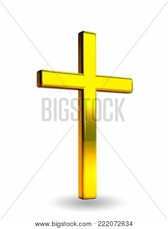 Gold Christian Cross Icon - 3D Rendering Image