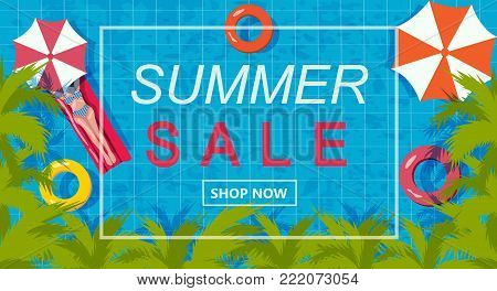 Summer sale promotion banner with the bikini lady sunbathing on the rubber ring floating on the swimming pool surrounded with the palm trees, chill vibe, illustration, vector