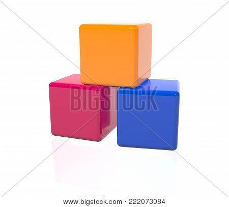 Plastic Toy Bricks - 3D Rendering Image